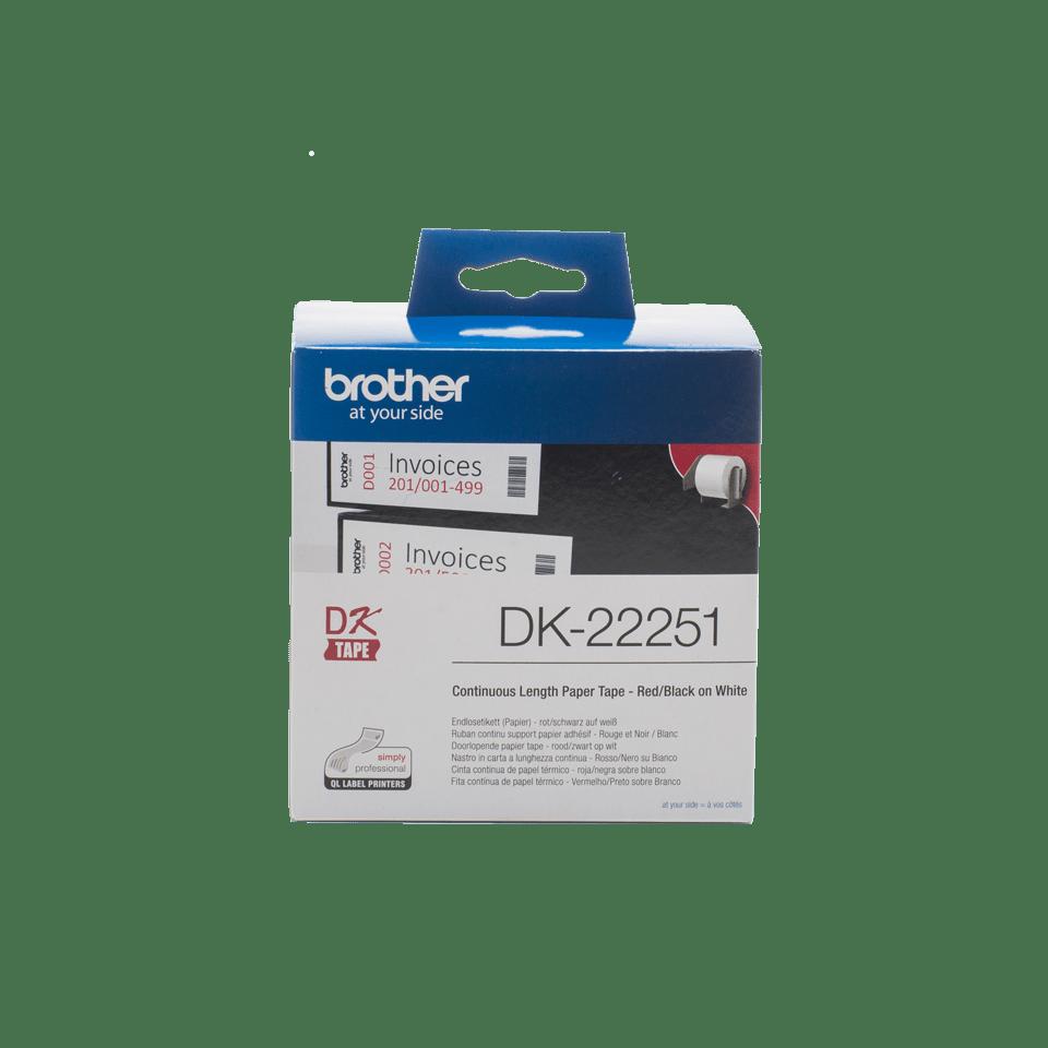 Original Brother DK22251 løbende papirlabelrulle – sort/rød  skrift på hvid label, 62 mm