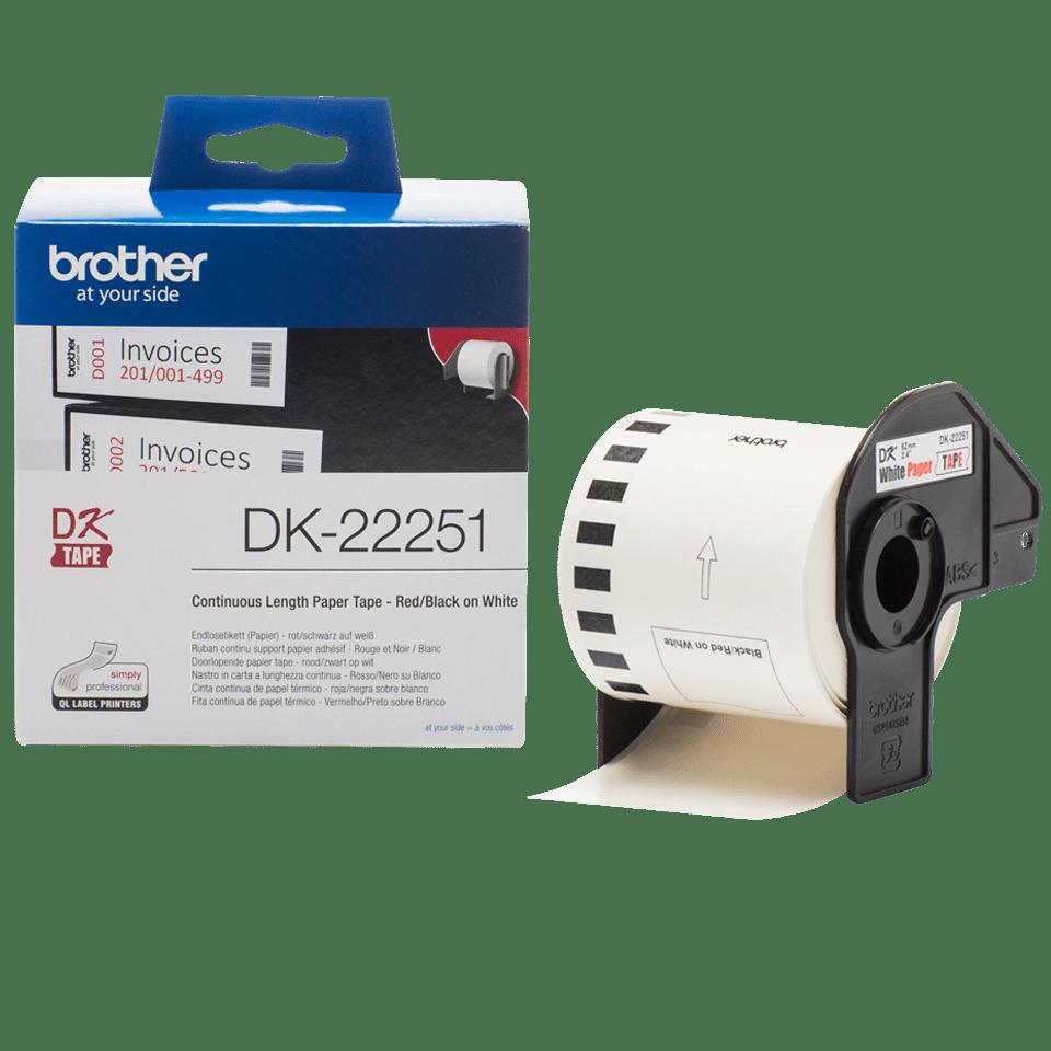 Original Brother DK22251 løbende papirlabelrulle – sort/rød  skrift på hvid label, 62 mm 3