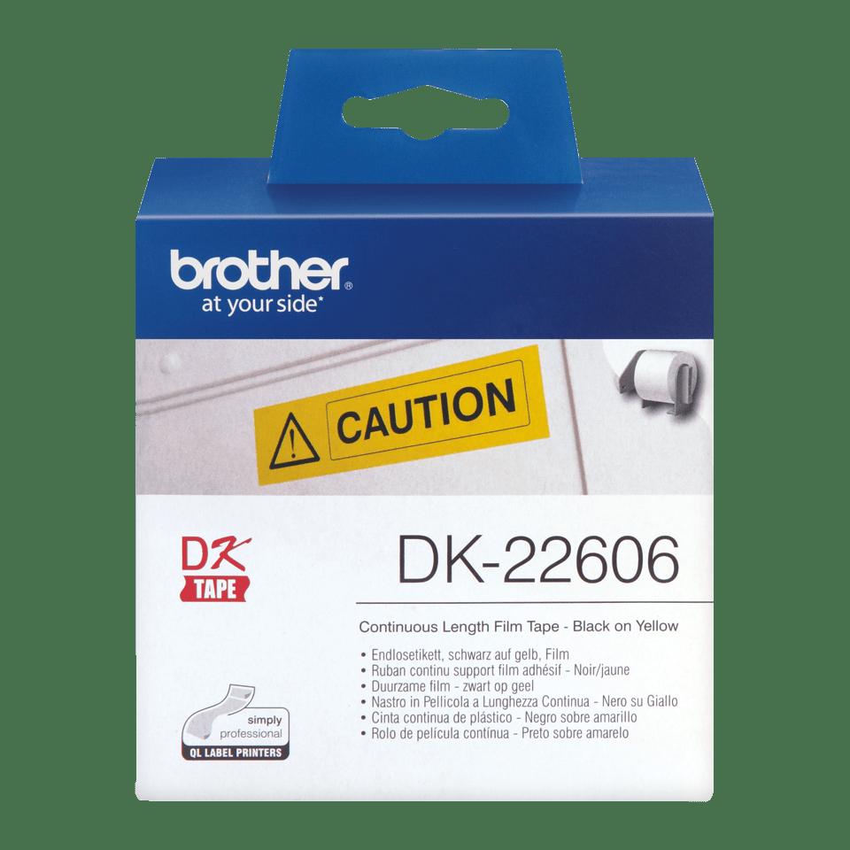 Original Brother DK-22606 label i endeløs bane – sort på gul, 62 mm bred 2