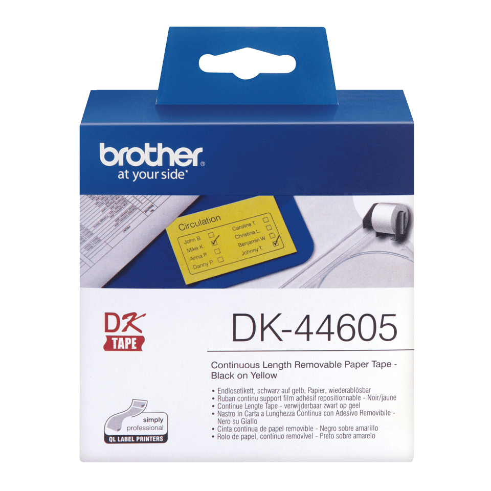 Original Brother DK44605 labelrulle – gul, 62 mm x 30,48 m