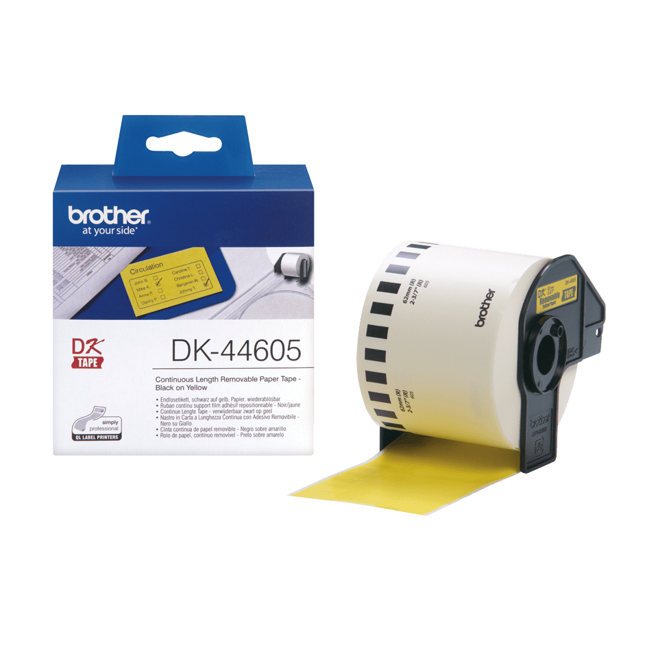 Original Brother DK44605 labelrulle – gul, 62 mm x 30,48 m 3