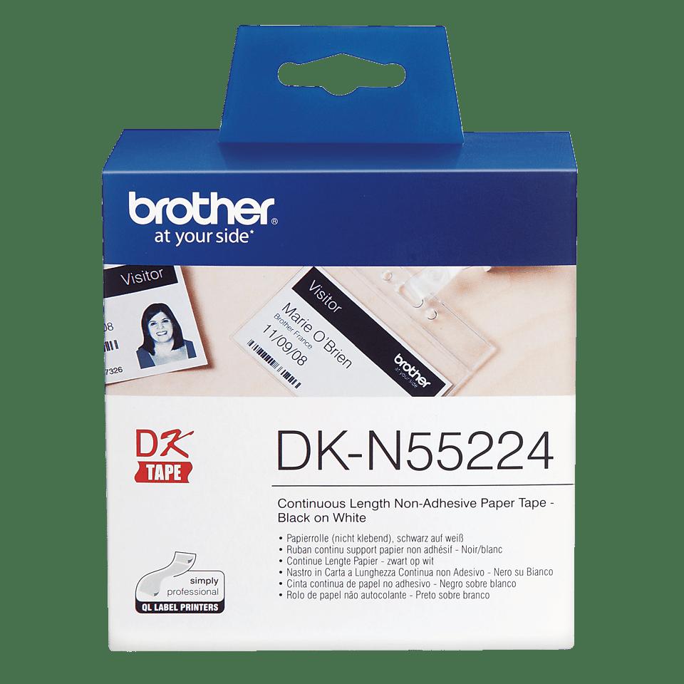 Original Brother DKN55224 løbende ikke-klæbende papirrulle, sort på hvid, 54 mm