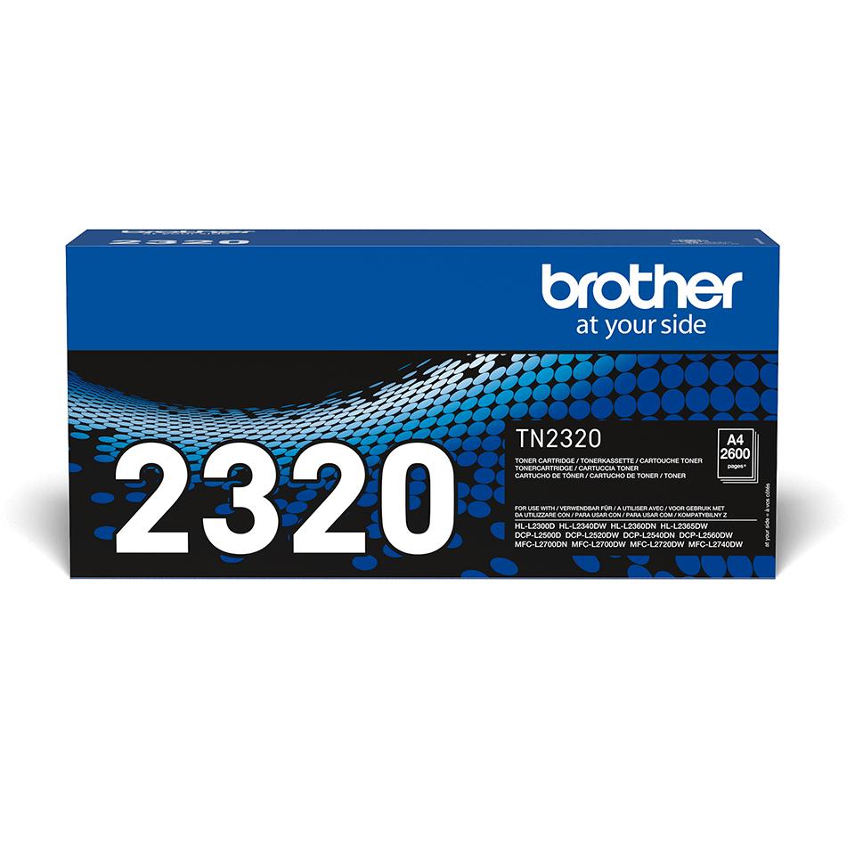 Original Brother TN2320 stor sort toner, der giver op til 2.600 A4 sider