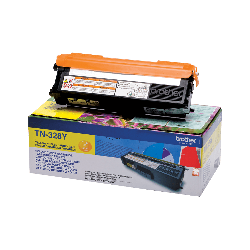 Original Brother TN328Y toner – gul