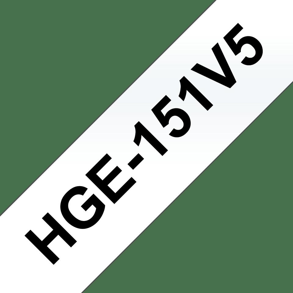 Original Brother HGe-151V5-tape – sort på klar, 24 mm bred