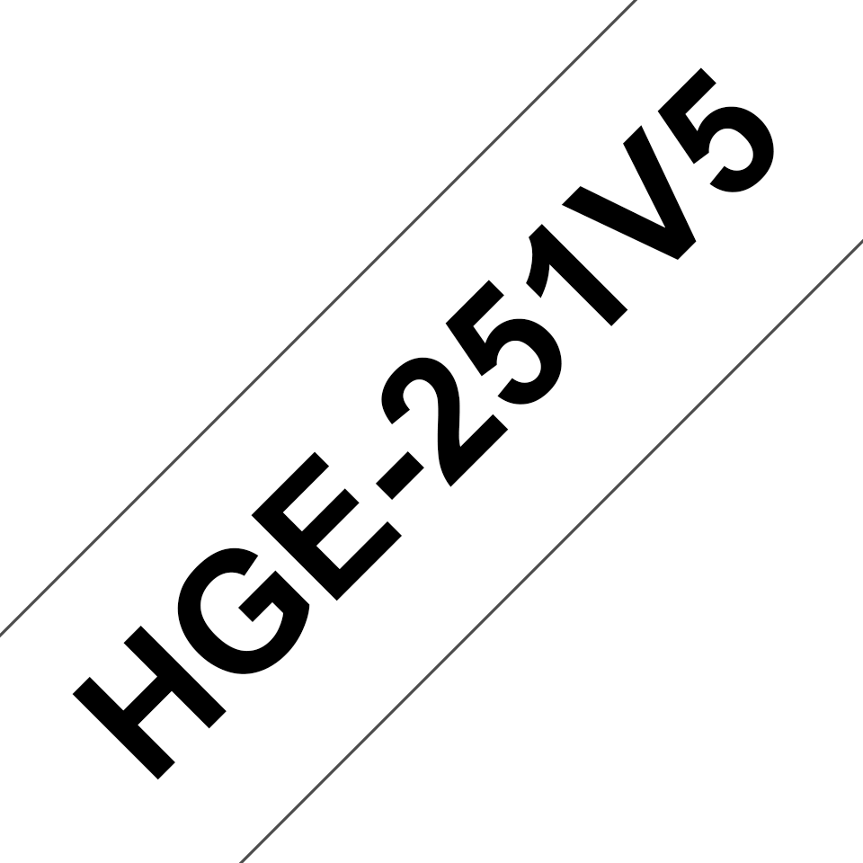 Original Brother HGe-251V5-tape – sort på hvid, 24 mm bred