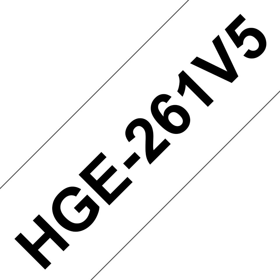 Original Brother HGE-261V5-tape – sort på hvid, 36 mm bred