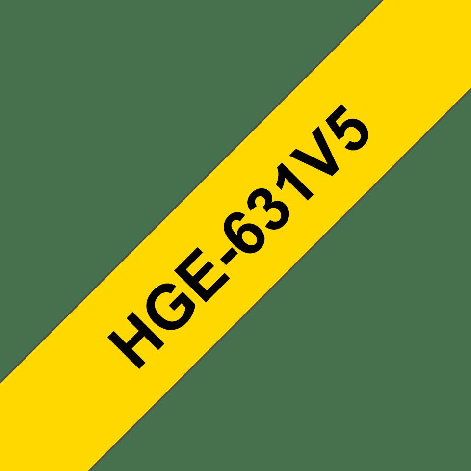 Original Brother HGe631V5 tape – sort på gul, 12 mm bred