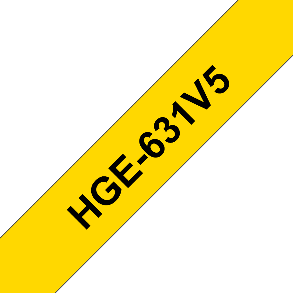 Original Brother HGe-631V5-tape – sort på gul, 12 mm bred