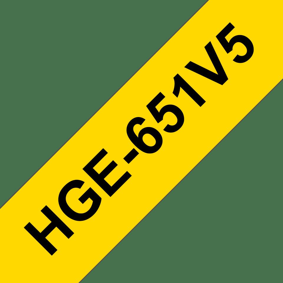 Original Brother HGe-651V5-tape – sort på gul, 24 mm bred