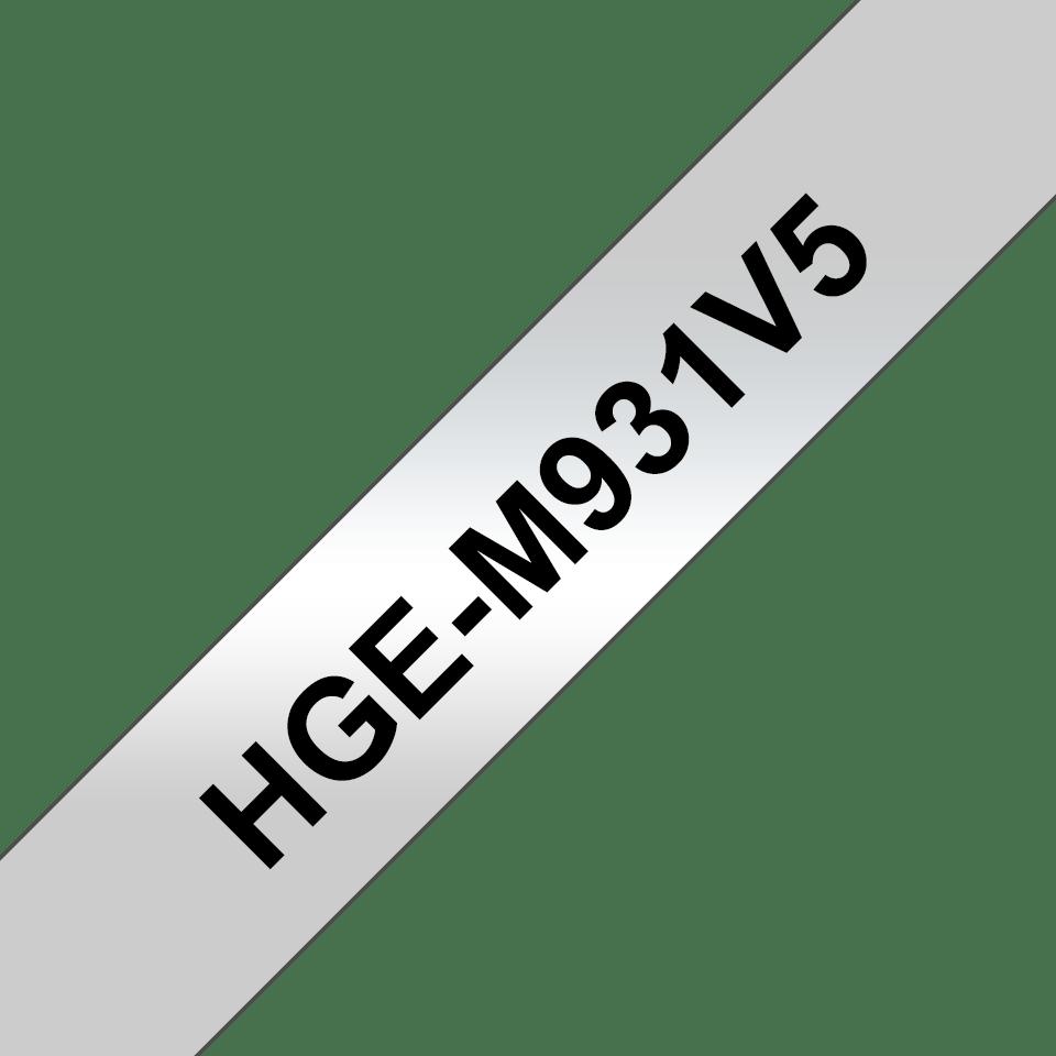 Original Brother HGeM931V5 tape – sort på sølv, 12 mm bred