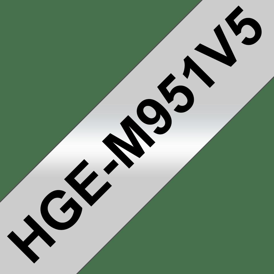 Original Brother HGe-M951V5 tape – sort på mat sølv, 24 mm bred