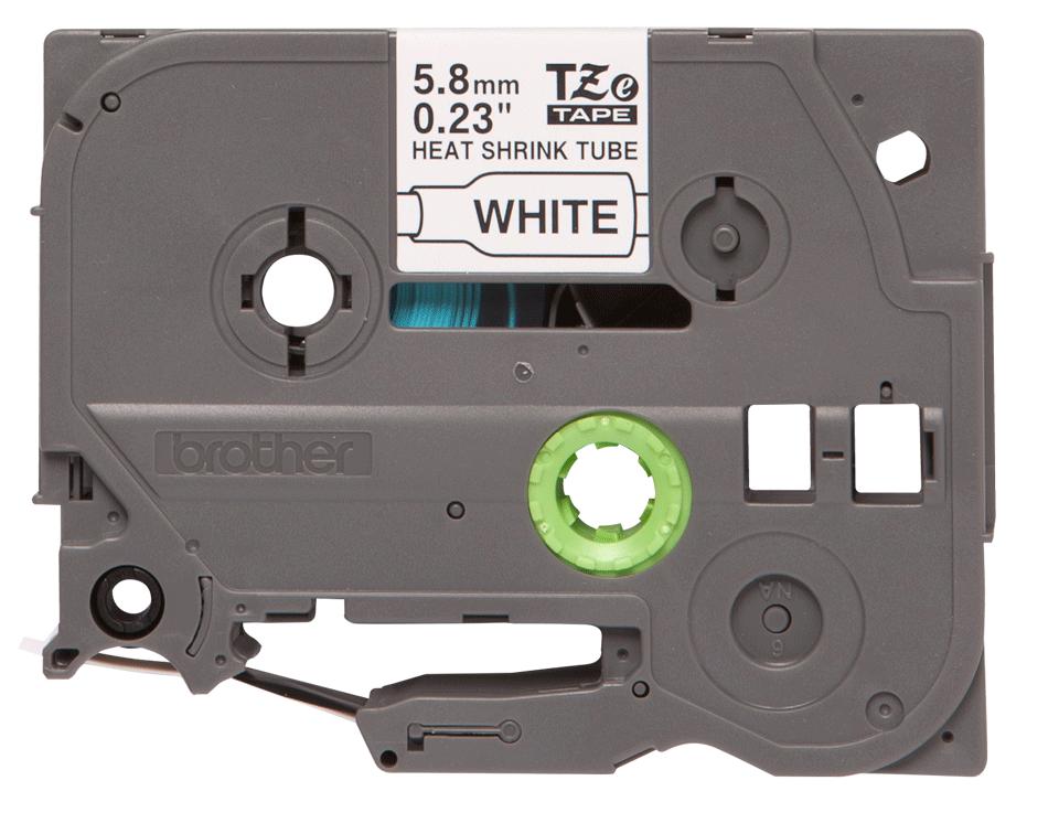 Original Brother HSe-211 krympeflextape – sort på hvid, 5,8 mm bred