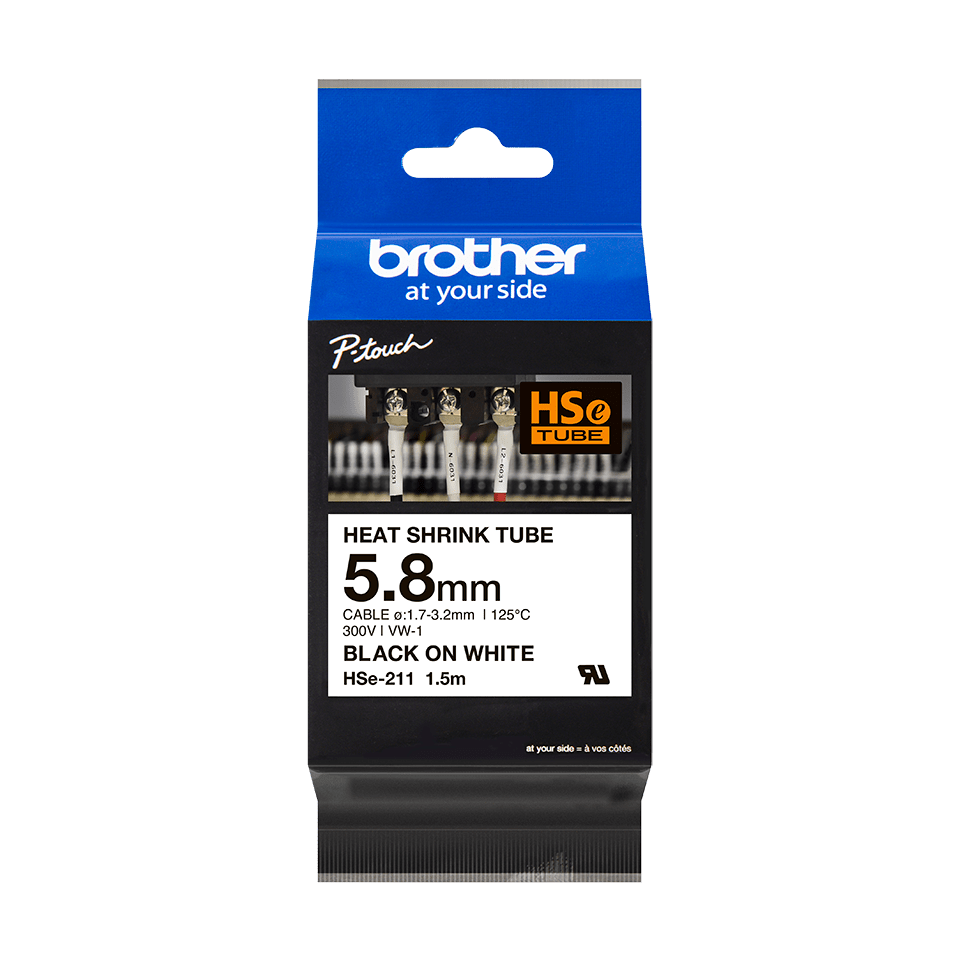 Original Brother HSe-211 krympeflextape – sort på hvid, 5,8 mm bred 3