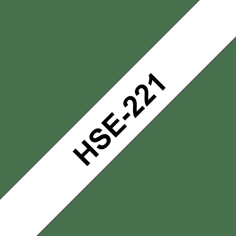 Original Brother HSe-221 krympeflextape – sort på hvid, 8,8 mm x 1,5 m