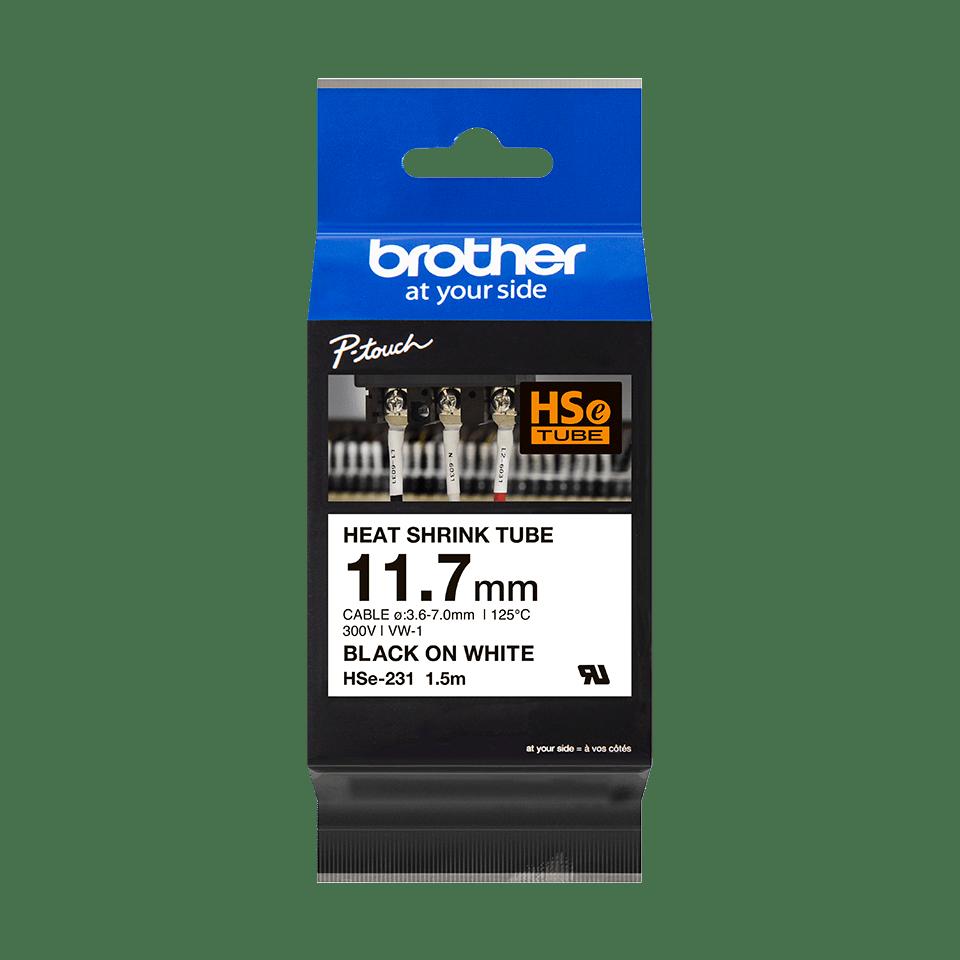 Original Brother HSe231 krympeflex tape – sort på hvid, 11,7 mm bred 2