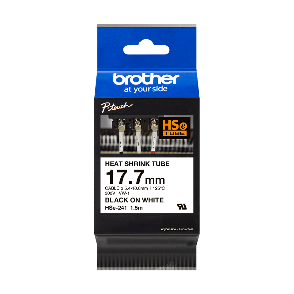 Original Brother HSe-241 krympeflextape – sort på hvid, 17,7 mm bred 2