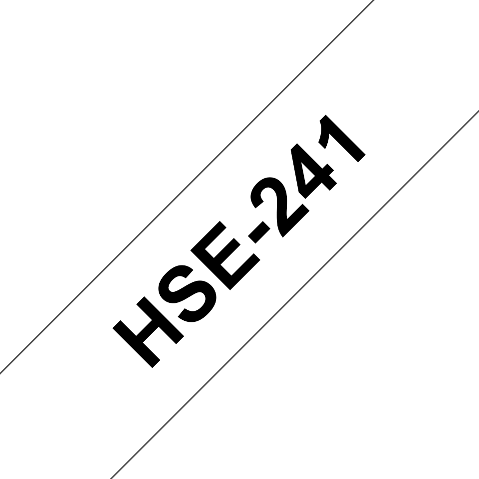 Original Brother HSe-241 krympeflextape – sort på hvid, 17,7 mm bred 3