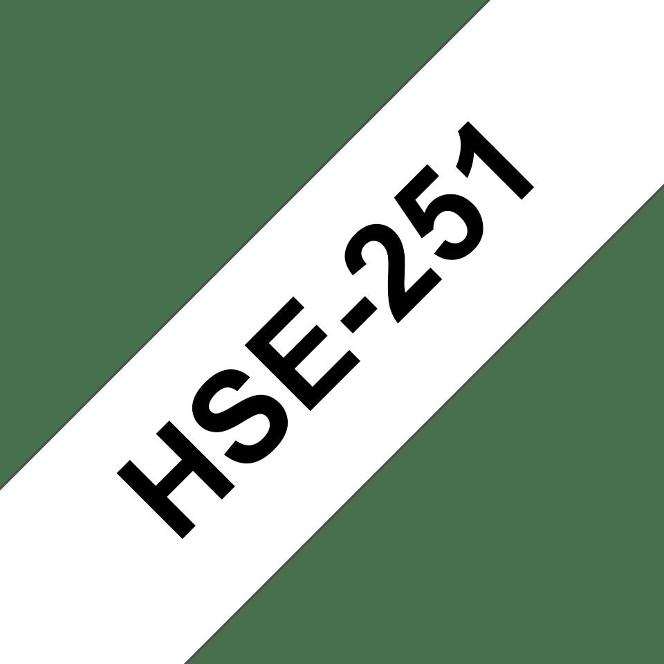 Original Brother HSe-251 krympeflextape – sort på hvid, 23,6 mm bred