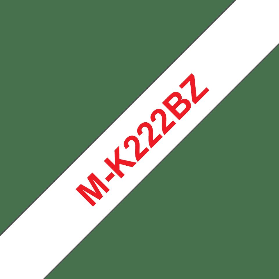 Original Brother MK222BZ tape – rød på hvid, 9 mm bred