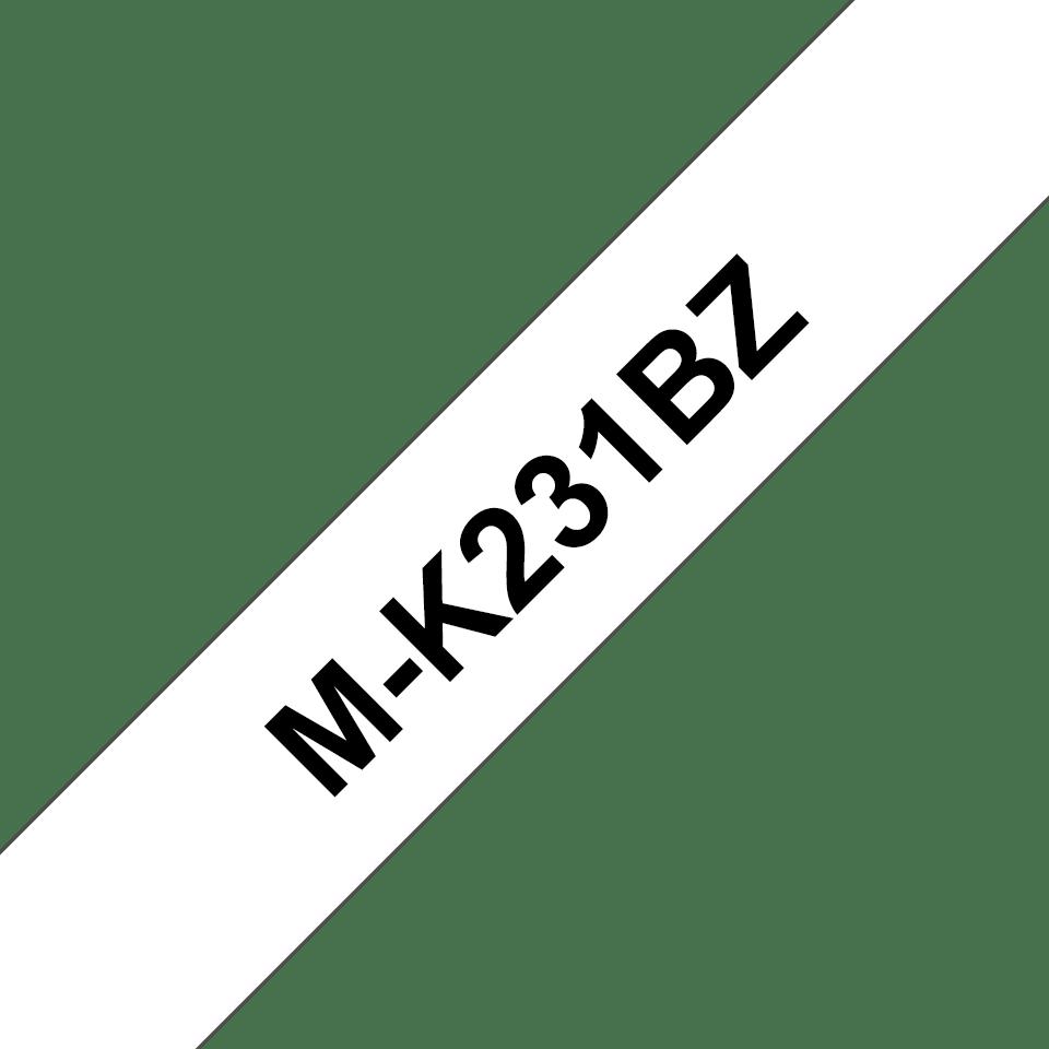 Original Brother M-K231BZ tape – sort på hvid, 12 mm bred
