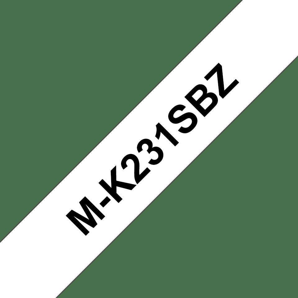 Original Brother MK231SBZ tape – sort på hvid, 12 mm bred