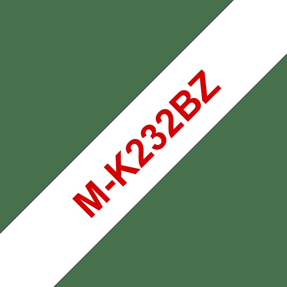 Original Brother MK232BZ tape – rød på hvid, 12 mm bred