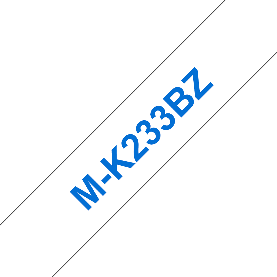 Original Brother MK233BZ tape – blå på hvid, 12 mm bred
