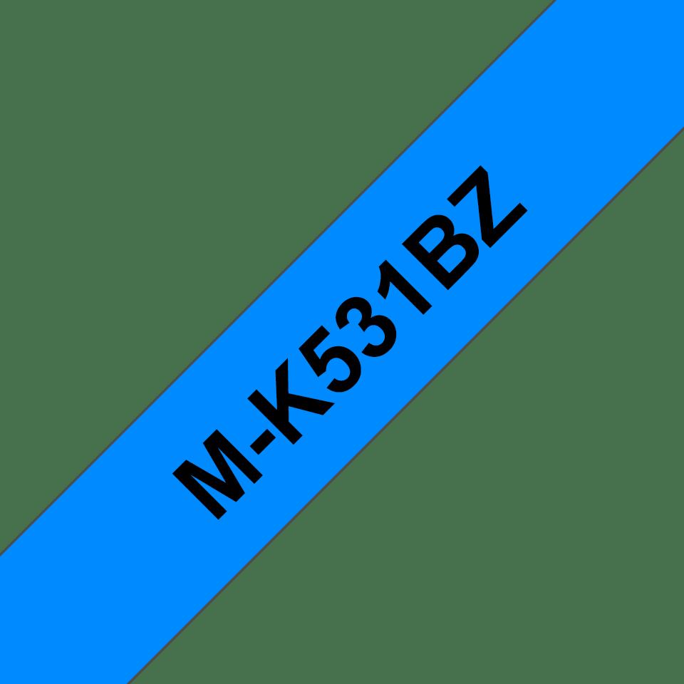 Original Brother MK531BZ tape – sort på blå, 12 mm bred