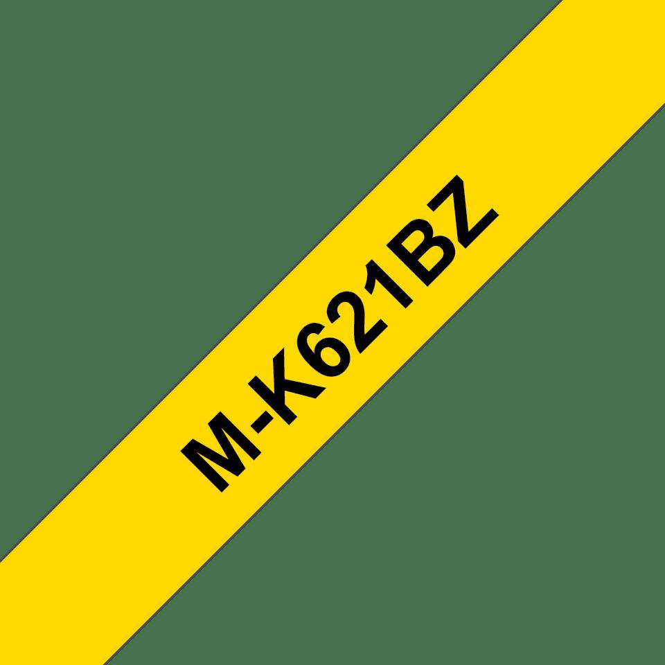 Original Brother MK621BZ tape – sort på gul, 9 mm bred