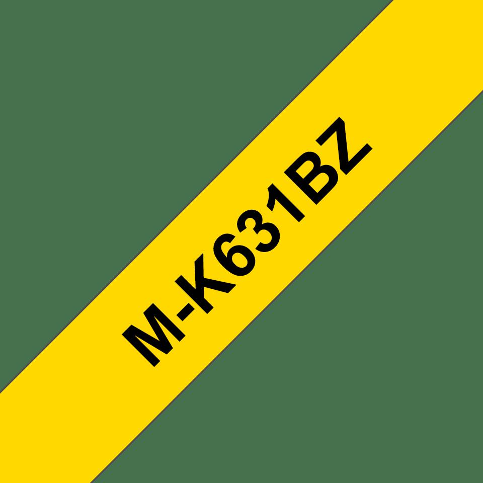 Original Brother MK631BZ tape – sort på gul, 12 mm bred