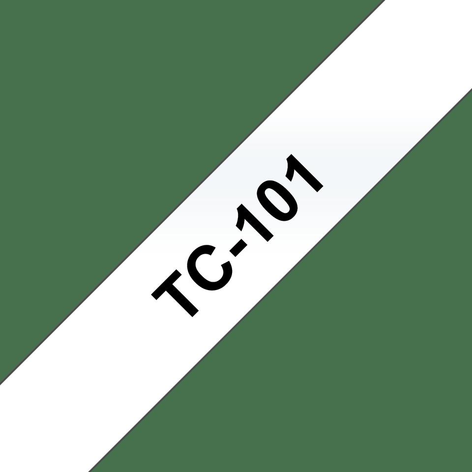 Original Brother TC101 tape – sort på klar, 12 mm bred