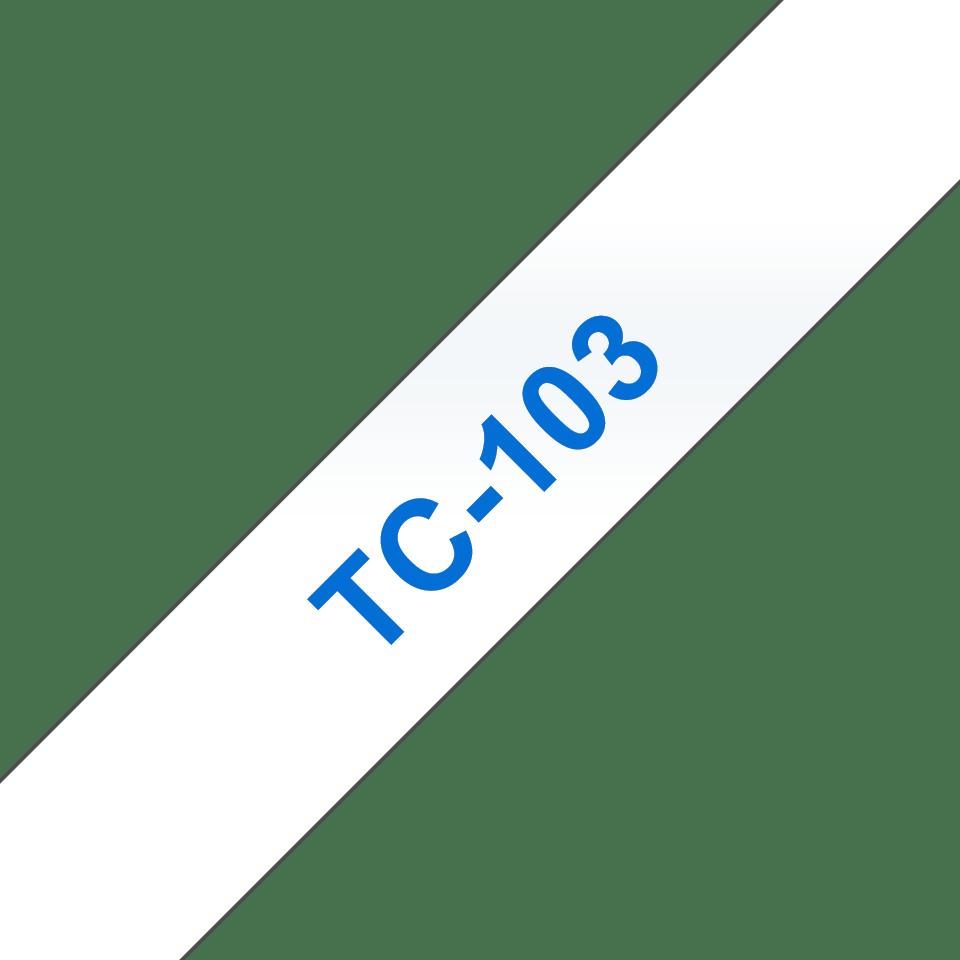 Original Brother TC103 tapekassette – blå tekst på klar tape, 12 mm bred