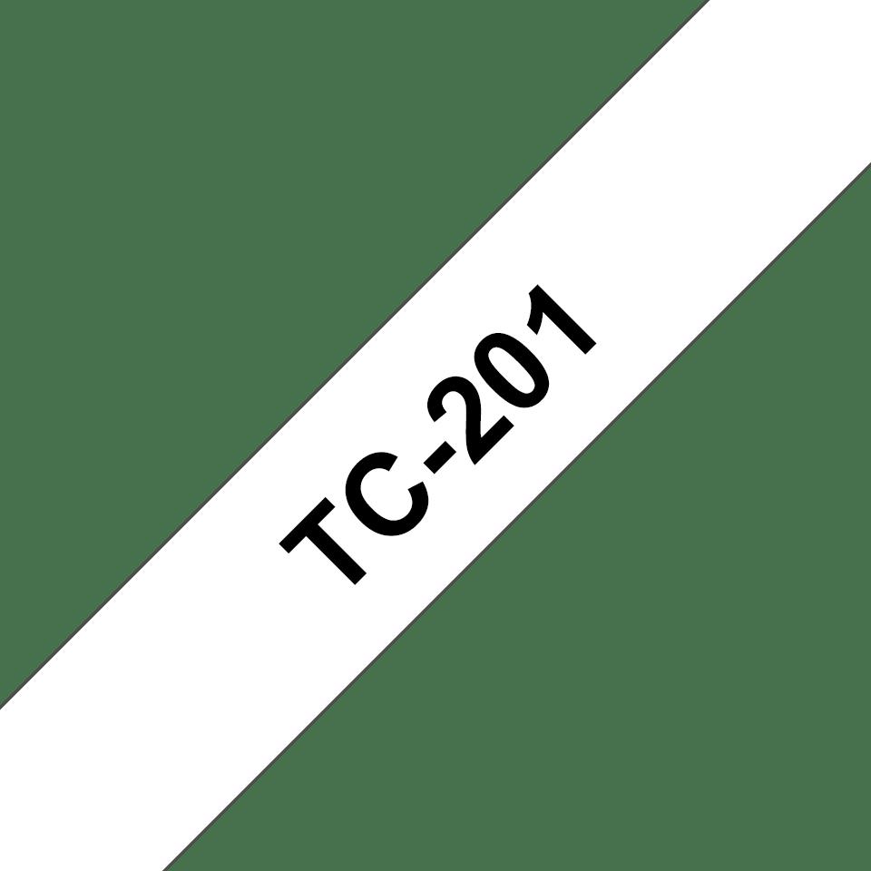 Original Brother TC201 tape – sort på hvid, 12 mm bred