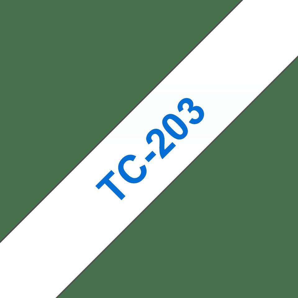 Original Brother TC203 tapekassette - blå på hvid, 12 mm bred