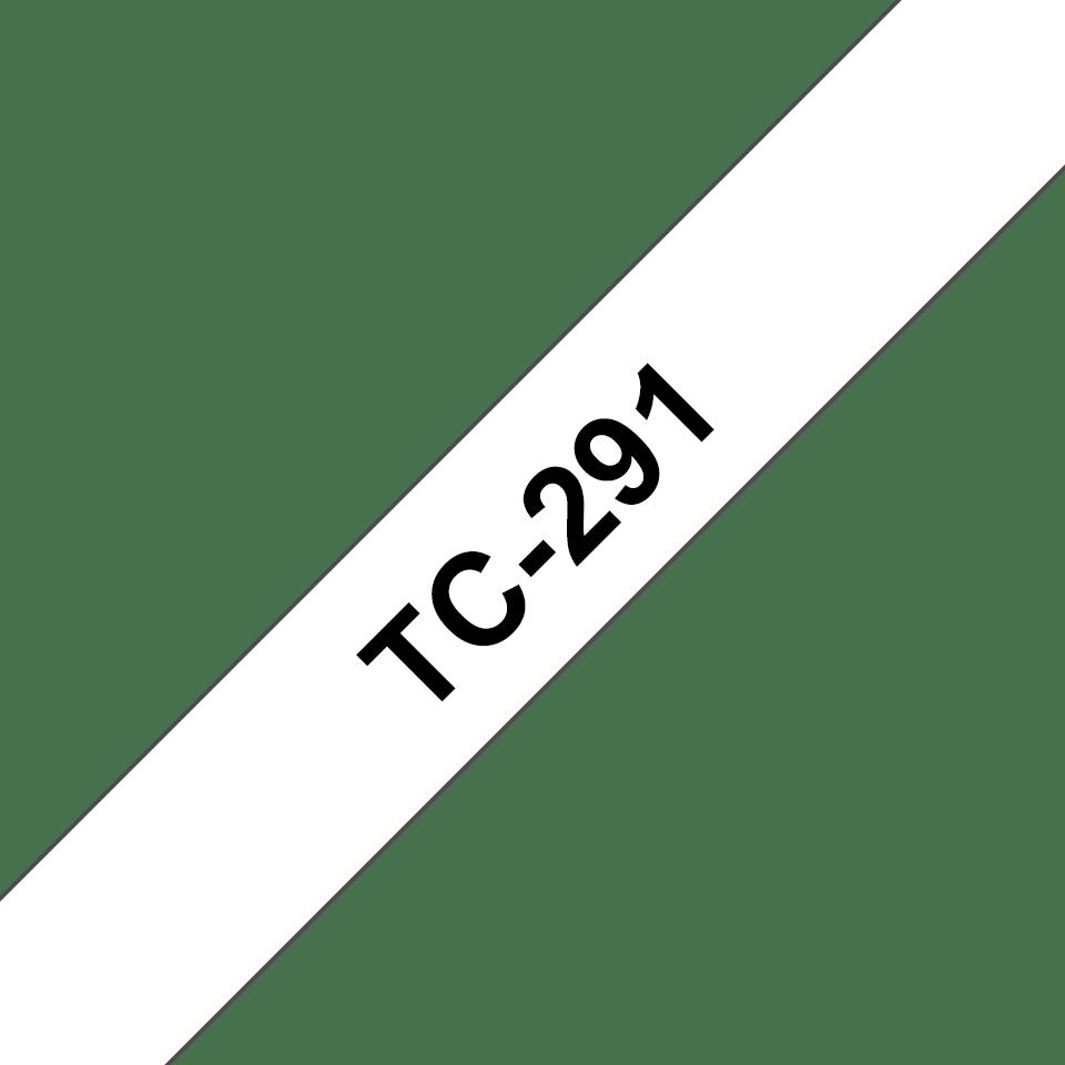 Original Brother TC291 tape – sort på hvid, 9 mm bred