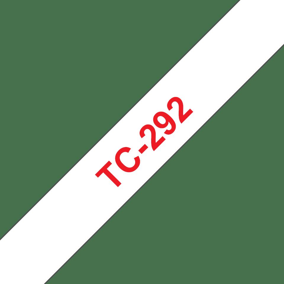 Original Brother TC292 tape – rød på hvid, 9 mm bred
