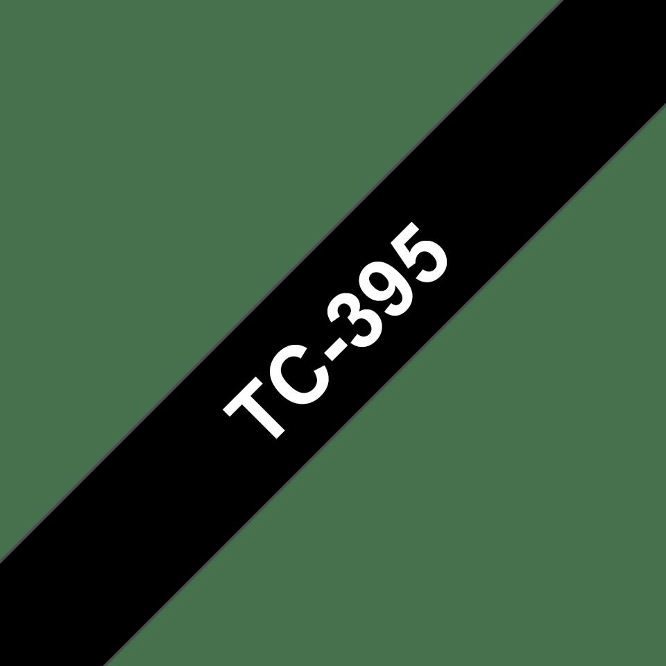 Original Brother TC395 tape - hvid på sort, 9 mm bred
