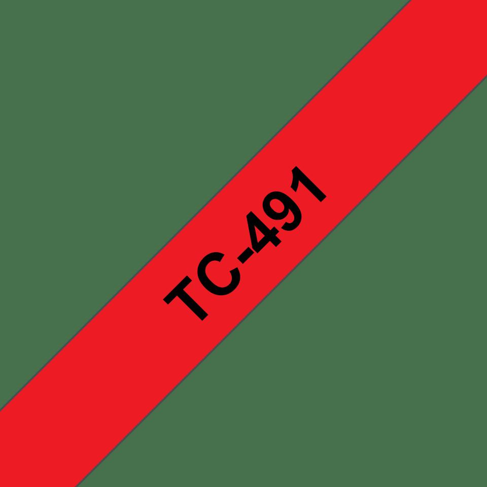 Original Brother TC491 tape, sort på rød, 9 mm bred