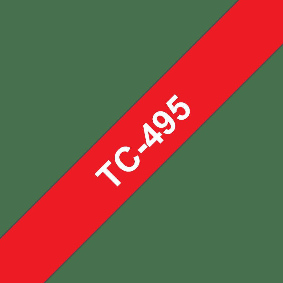 Original Brother TC495 tape - hvid på rød, 9 mm bred