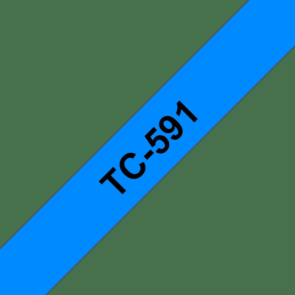 Original Brother TC591 tape – sort på blå, 9 mm bred