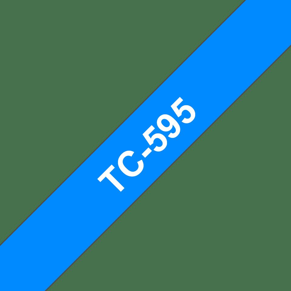 Original Brother TC595 tape - hvid på blå, 9 mm bred