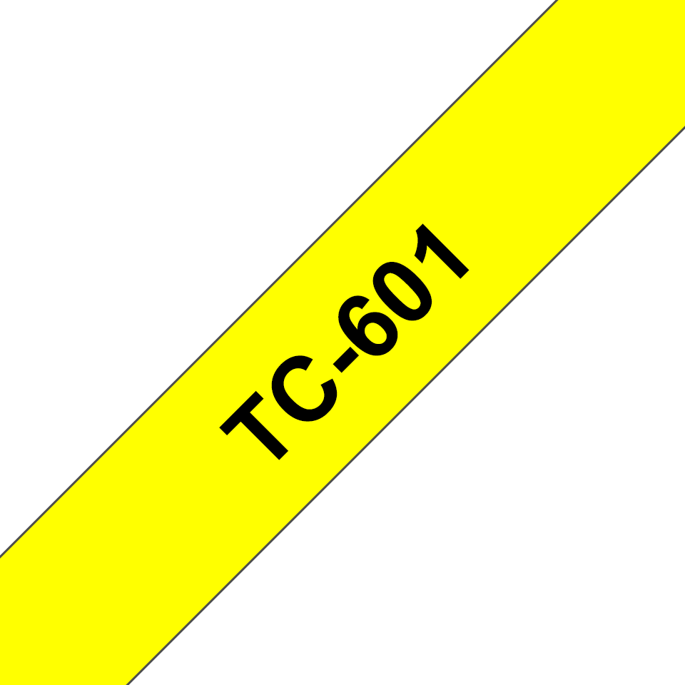 Original Brother TC601 tape – sort på gul, 12 mm bred