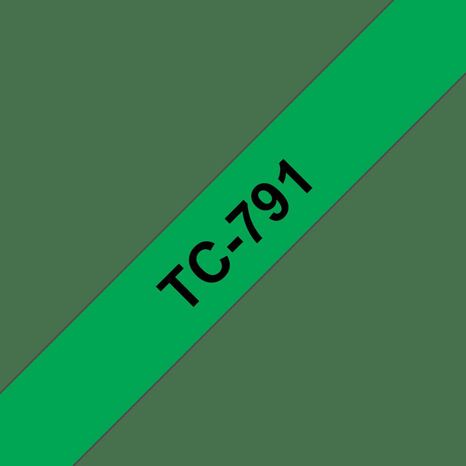 Original Brother TC791 tape – sort på grøn, 9 mm bred