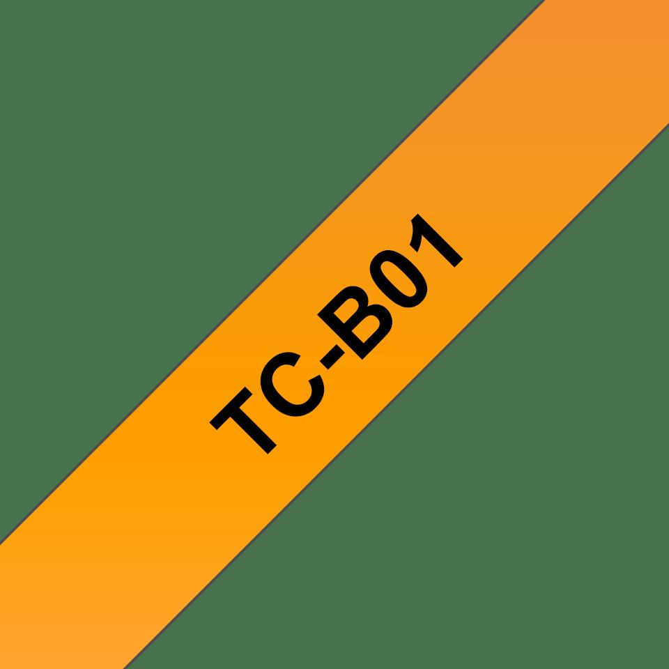 Original Brother TCB01 fluorescerende tape – sort på orange, 12 mm bred
