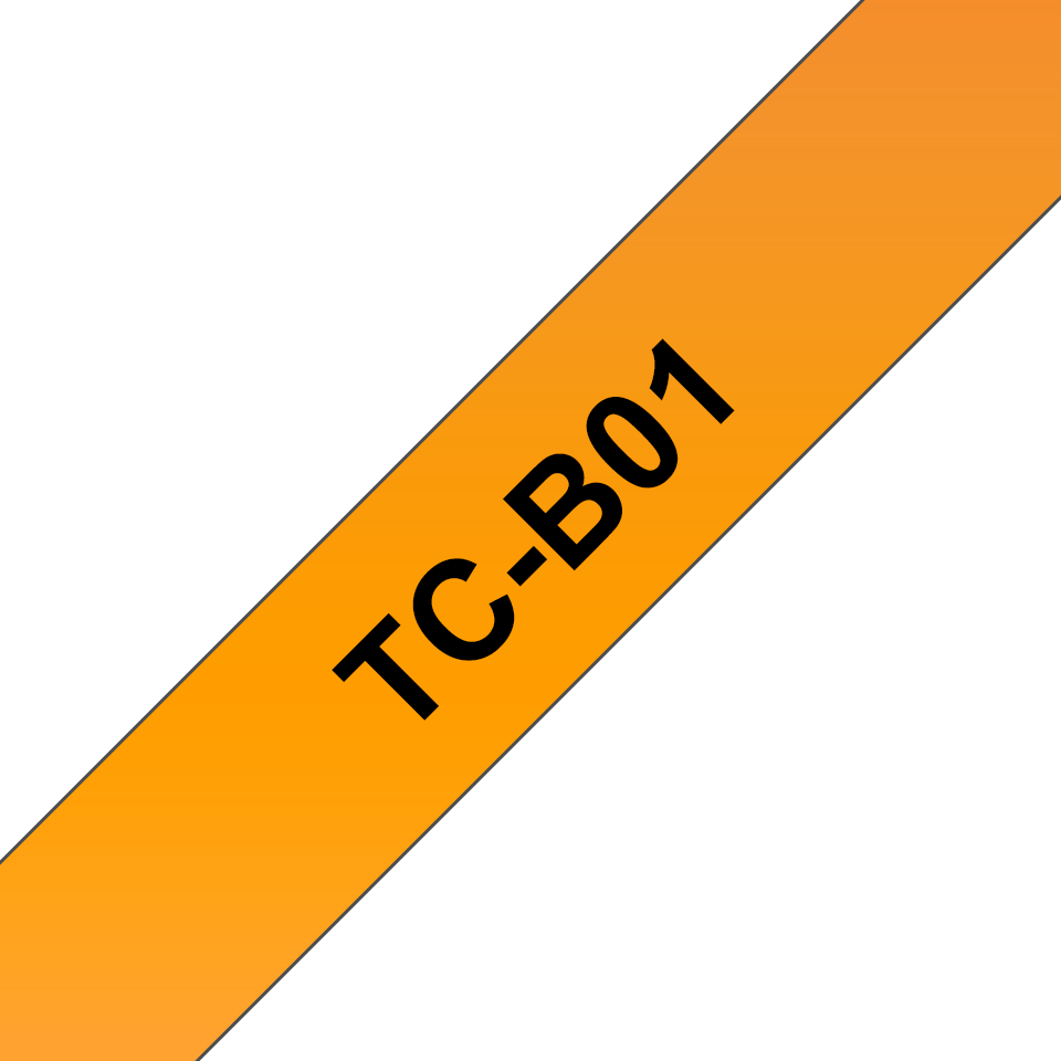 Original Brother TCB01 fluorescerende tape – sort på orange, 12 mm bred