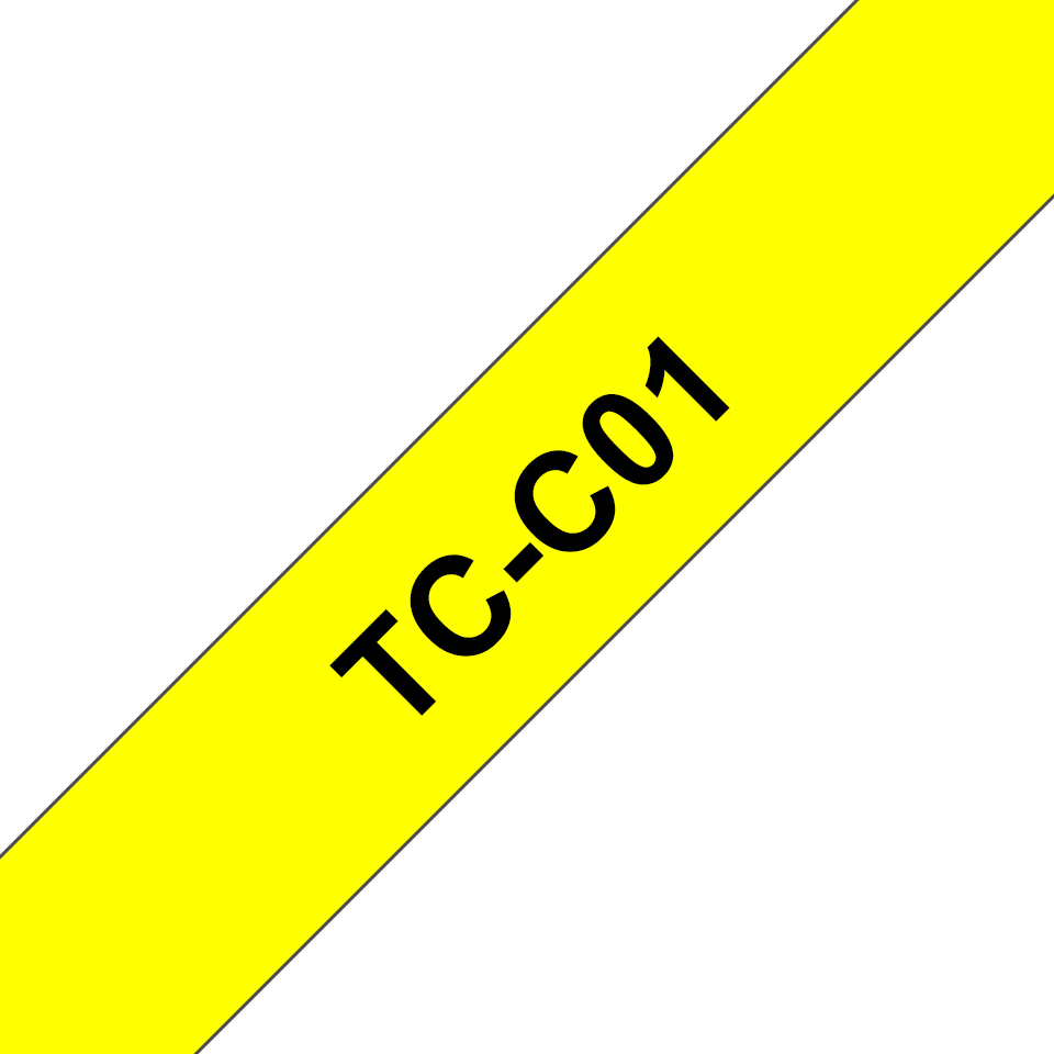Original Brother TCC01 fluorescerende tape – sort på gul, 12 mm bred