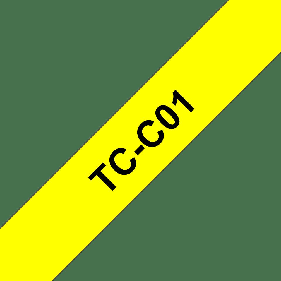 Original Brother TCC01 fluorescerende tape – sort på gul, 12 mm bred