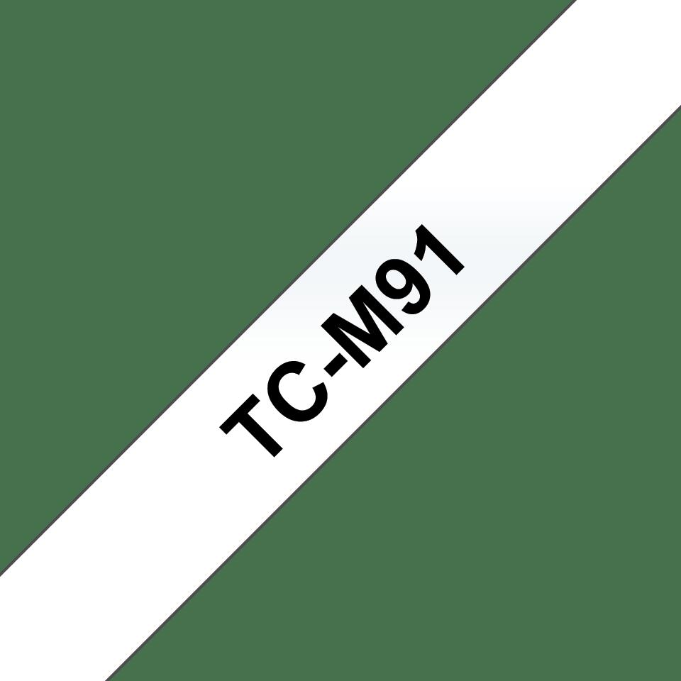 Brother TC-M91 sort på klar, lamineret tape – 9 mm bred