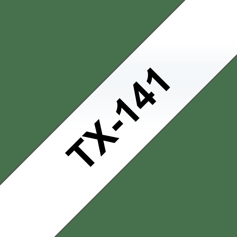 Original Brother TX141 tape – sort på klar, 18 mm bred
